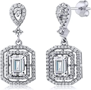 925 Sterling Silver Dangle Earrings Forever Brilliant (GHI) Emerald Cut 2.00ct (DEW) Created Moissanite by Charles & Colvard