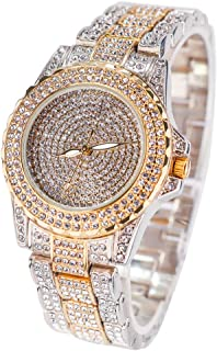 Round Luxury Women Watch Crystal Rhinestone Diamond Watches Stainless Steel Wristwatch Iced Out Watch with Japan Quartz Movement for Women | Simulated Lab Diamonds