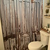 Rustic Shower Curtain Vintage House Entrance with Vertical Old Planks Distress
