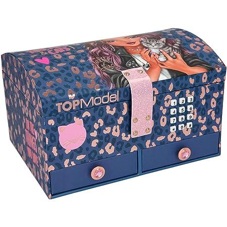 Depesche TOPModel Leo Love 11329 – Boîte à bijoux avec code et son, avec motif animal violet, env. 15,7 x 20 x 12,5 cm, avec miroir et 6 compartiments