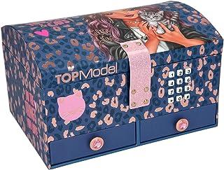 Depesche TOPModel Leo Love 11329 - Joyero con código y sonido, diseño de leopardo morado, 15,7 x 20 x 12,5 cm, con espejo ...