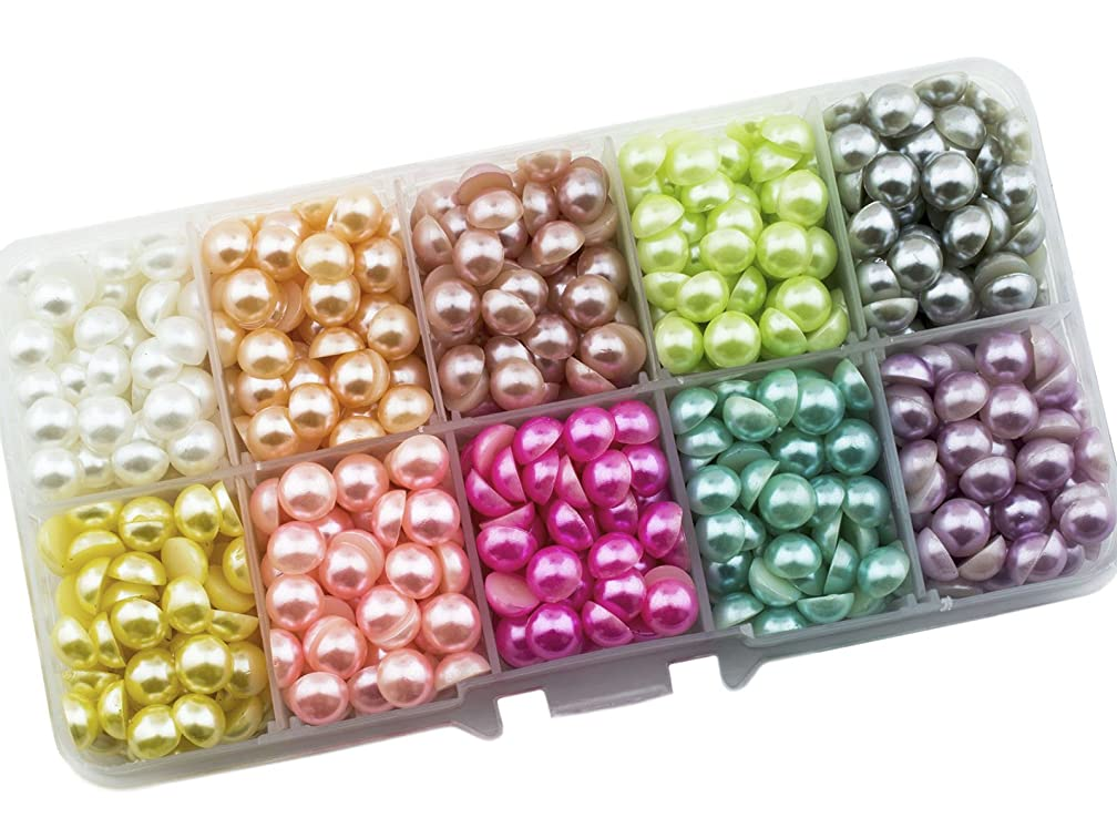 Summer-Ray 7mm Assorted Color Flat Back Pearl In Storage Box Set #1 (Large Quantity Set)
