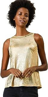 Allegra K Women's Metallic Shiny Tank Top Party Club A-Line Shimmer Camisole Vest