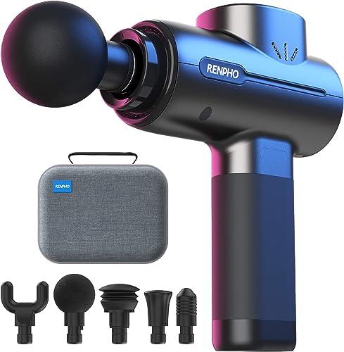 RENPHO Massage Gun Deep Tissue, Portable Massager Gun Deep Tissue Weighted Only 1.5lbs, Handheld Percussion Massage G...