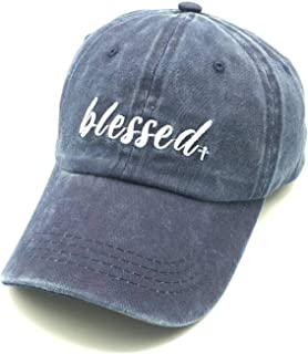 Embroidered Blessed Women Men Adjustable Distressed Dad Hats Faith Thankful Baseball Cap