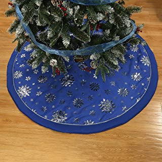 wlflash Christmas Tree Skirt 48 inch 3 Layers for Xmas Holiday Decorations Tree Ornaments Indoor OutdoorCreamy (Blue Imitation Cotton)