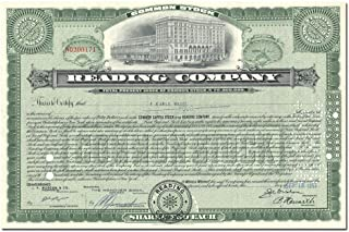 1897 LOVELY HISTORIC READING RR STOCK w MAIN TERMINAL (NOW READING MARKET!) BUY 2 GET 2 COLORS - NO EXTRA SHIPPING! ENGRAVED 1897 ISSUED 1957 Various Shares About Uncirculated
