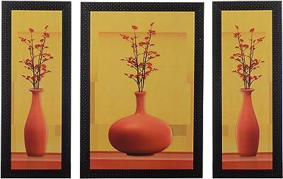 eCraftIndia Satin Matt Textured Synthetic Wood Art Painting (18 cm x 41 cm, Set of 3, C3FPB2126_A)