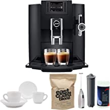 Jura 15109 Automatic Coffee Machine E8, with Handheld Milk Frother, Smart Filter Cartridge, Cleaning Tablets, Capresso East Coast Blend Coffee Beans and Two Ceramic Tiara Espresso Cups and Saucers