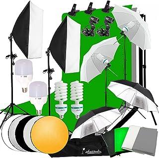 Abeststudio Photo Studio LED Light Softbox Continuous Lighting Kit,4x 1.6*3m Backdrops(Black White Green Gray ), 2x 135W B...