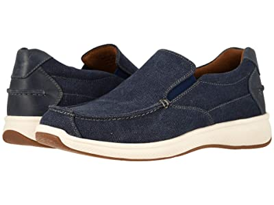 Florsheim Great Lakes Canvas Moc Toe Slip-On (Navy Canvas w/ Navy Smooth) Men