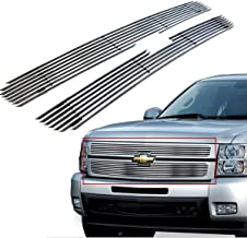PARTS-DIYER Polished Aluminum Horizontal Billet Grille Compatible With 03-05 Chevy Silverado LD,03-06 Chevy Avalanche,03-04 Chevy Silverado HD Grill 2pcs