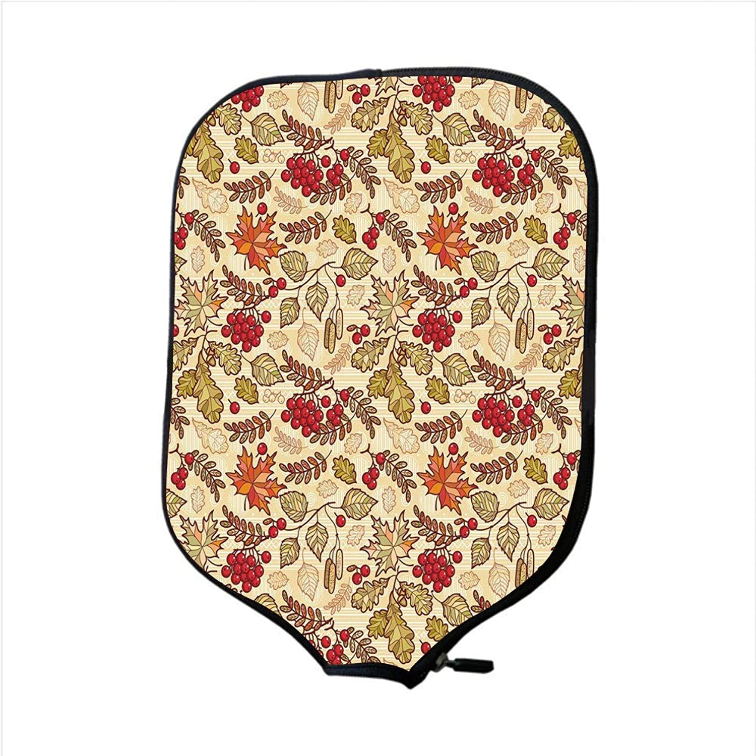 Fine Neoprene Pickleball Paddle Racket Cover Case,Rowan,Fall Season Themed Mixed Pattern with Maple Birch Oak Autumn Leaves and Ashberries Decorative,Multicolor,Fit for Most Rackets