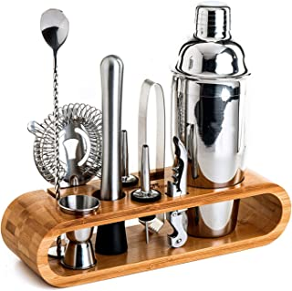 Bartender Kit,U-HOOME 10-Piece Bar Tool Set with Stand Bamboo,with All Bar Accessories, Cocktail Strainer, Double Jigger, ...
