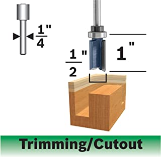 Bosch 85680MC 1/2 In. x 1 In. Carbide-Tipped Double-Flute Top-Bearing Straight Trim Router Bit