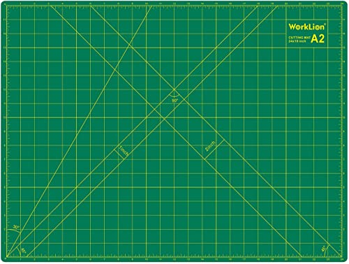 WORKLION 18'' x 24'' Large Self Healing PVC Cutting Mat, Double Sided, Gridded Rotary Cutting Board for Craft, Fabric...