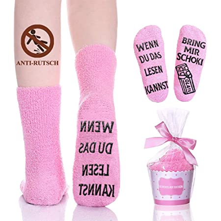 iZoeL Flauschsocken damen Lustige Socken Witzige Spruch wenn du das lesen kannst bring mir Kaffee Kuschelsocken Cupcake Socken