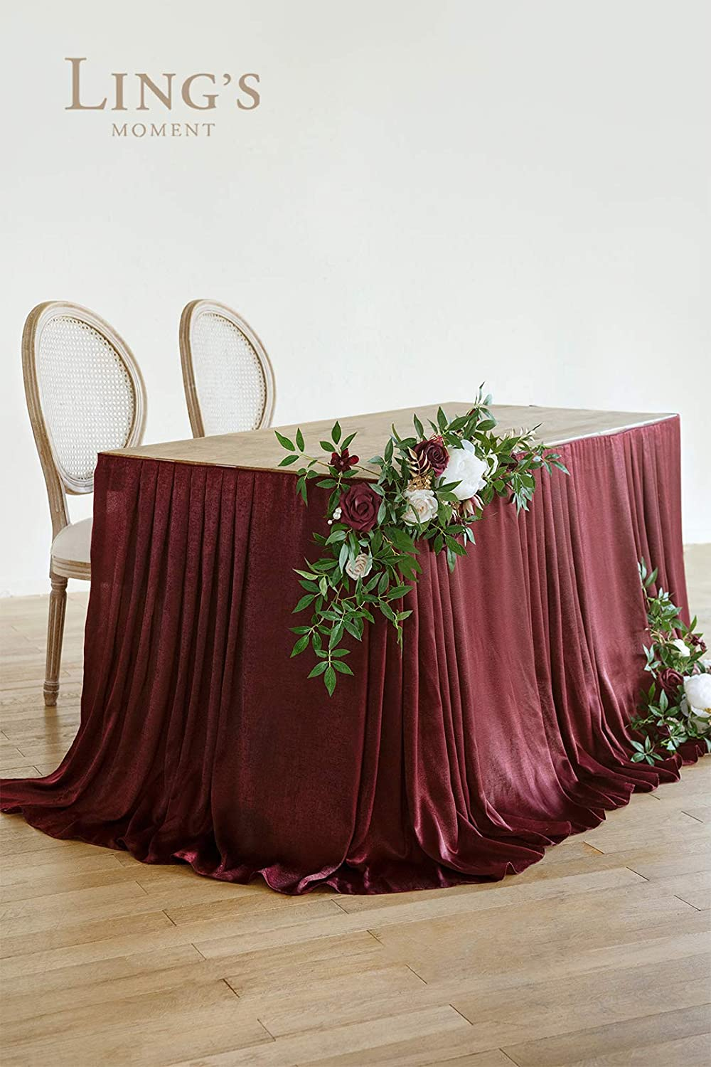 Set of 3 Lings moment Wedding Table Flowers Kit 2pcs Table Floral Arrangement /& 1pc 9FT Table Skirt for Wedding Sweetheart Table Reception Table Decoration