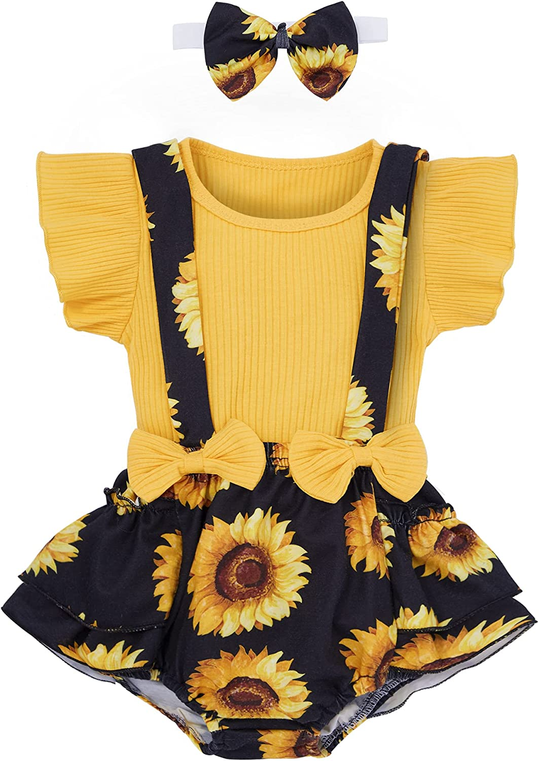 Baby Girl Clothes Summer Outfits Pure Color Soft Ruffle Sleeve Tops + Cute Printed Suspender Pants + Printed Headbands