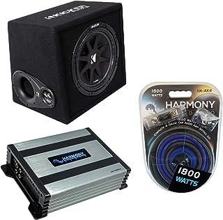 "$299 » Kicker VC124 Car Audio Loaded Single 12"" Comp 300W Sub Box Enclosure Bundle with Harmony HA-A400.1 Amplifier & Amp Kit"