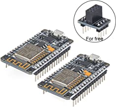 MakerFocus 2pcs ESP8266 NodeMCU LUA CP2102 ESP-12E Internet WiFi Development Board Serial Wireless Module Internet for Arduino IDE/Micropython with Free Adapter Board for ESP8266 ESP-01 and nRF24L01+
