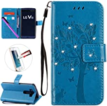 LG V10 Case, ISADENSER PU Leather Wallet Book Shell Luxury 3D Handmade Shine Diamond Embossing Tree Cat Butterfly Pattern Flip Protective Cover Case For LG V10- Blue Wish Tree