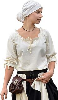 Battle-Merchant Middeleeuwse blouse Birga van katoen met 3/4 mouw - middeleeuwse kleding dames - diverse kleuren en maten