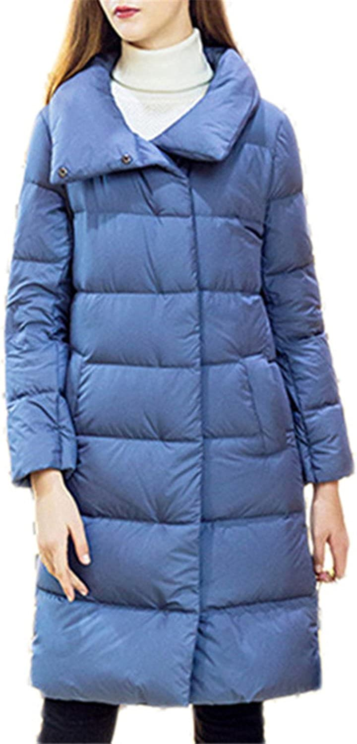 Josherly Women Winter Long Down Coat Solid color Long Down Jacket Woman's Coat Parkas