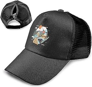 Lizzard in Forest Adjustable Ponytail Messy Buns,Trucker Baseball Cap Black