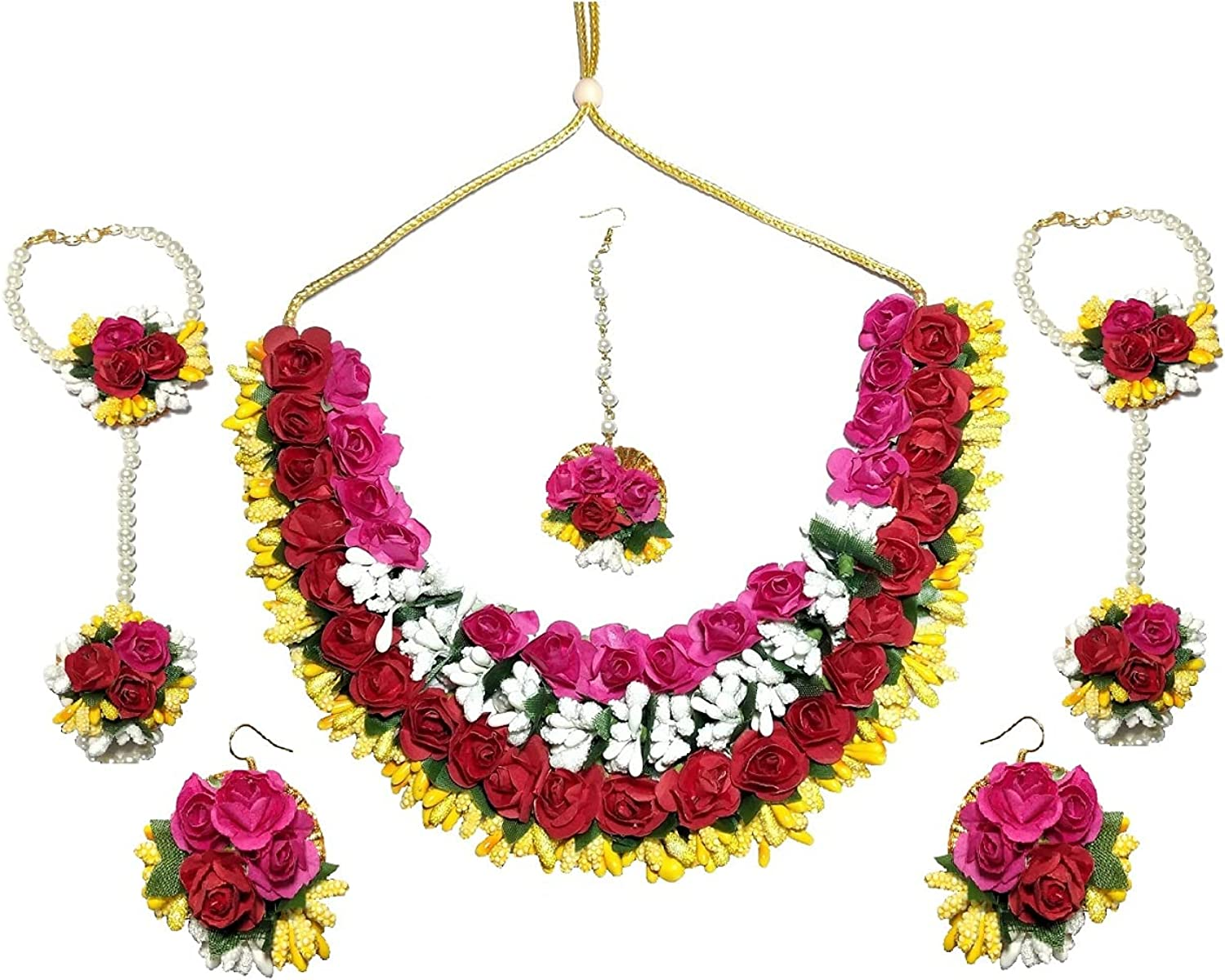 Pinoozclub Multi Colour Necklace/Earring/Maangtika/Hathfool Set For Woman/Girls