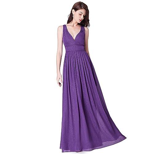 b81516cbd5 Ever Pretty Women's Elegant Double V Neck Elegant Empire Waist A Line  Sparkle Chiffon Long Bridesmaid