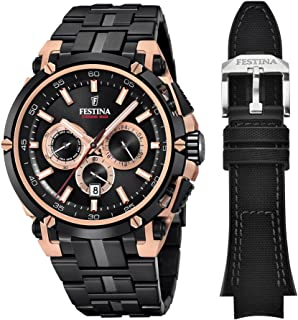 Festina Chrono Bike 2017 - Special Edition Men's Quartz Watch with Black Dial Chronograph Display and Black Stainless Steel Plated Bracelet F20329/1
