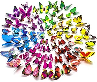 SunHO 3D Butterfly Stickers Removable Mural Crafts Art Design Decal Wall Home Decor Room Decorations (72 Piece)