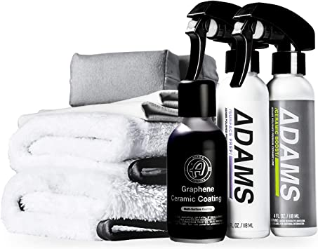 Adam's UV Graphene Ceramic Coating Kit - Verified 10H Ceramic Coating for Cars W/ 7+ Years of Protection & UV Glow Technology | Apply After Car Wash Clay Bar Car Buffer Polisher | Boat RV Motorcycle: image