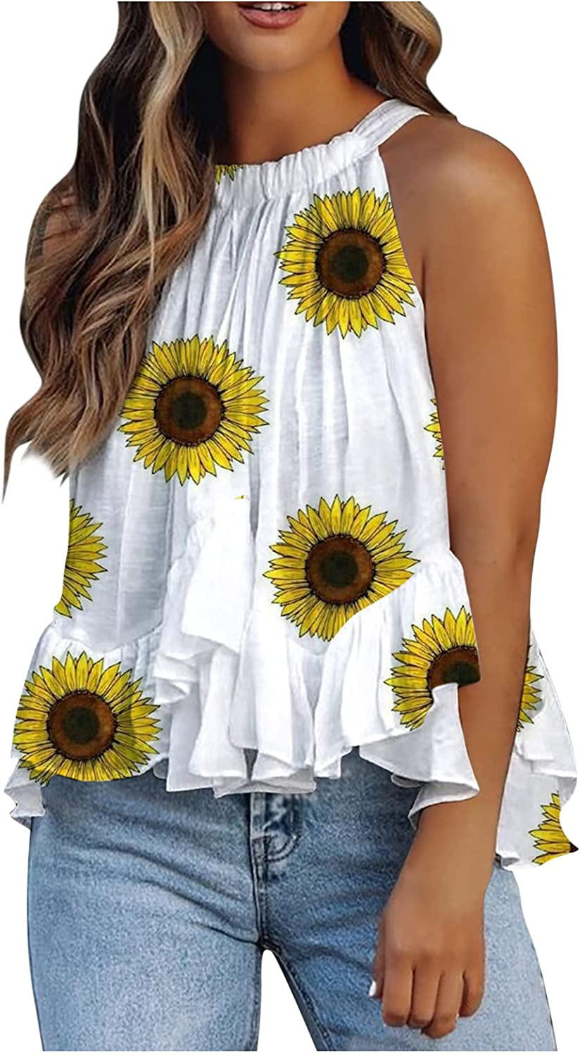 FABIURT Tank Tops for Women,Womens Summer Fashion 4th of July Printed Sleeveless Vest T-Shirt Casual Loose Cami Blouse