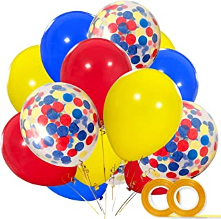 Paw Party Balloons 40 Pack, 12 Inch Red Yellow Royal Blue Latex Balloons with Confetti Balloon for Baby Shower Birthday Party Supplies Paw Party Decorations