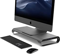 MONITORMATE ProBASE C Aluminum Monitor Stand with USB3.0 hub/BC1.2 USB Charging/Storage Drawer and External Power Supply(Grey)