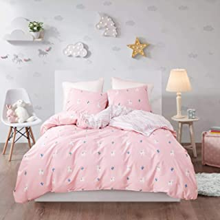 Wellboo Alpaca Duvet Covers Pink Girls Animals Cactus Bedding Sets Twin Cotton Sheep Quilt Covers Plant Trees Children Kids Floral Bedding Sets Colored Geometric Striped Soft Health No Insert