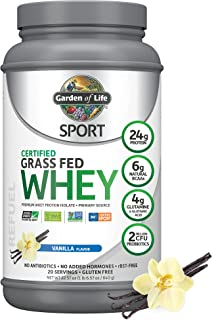 Garden of Life Sport Certified Grass Fed Clean Whey Protein Isolate, Vanilla, 22.57 Oz