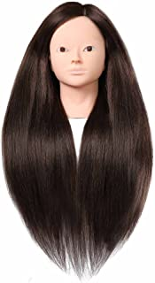 """SILKY 26""""-28"""" Long Hair Mannequin Head with 60% Real Hair, Hairdresser Practice Training Head Cosmetology Manikin Doll Head with 9 Tools and Clamp - #4 Brown, No Makeup"""