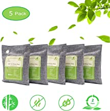 Air Purifying Bags Activated Bamboo Charcoal Bags for Home, Car, Closet, Bathroom, Basement, Litter Box, Shoe (5 Pack, 200g Each)