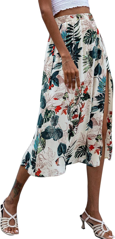 Milumia Women's Boho Floral Leaf Print Elastic High Waist Flowy Slit Midi Skirt