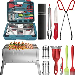 Camzezy Portable Camping Grill Sets - 18 Pieces Charcoal Grill Kits,Premium Stainless Steel Folding BBQ Grill,with Silicon...