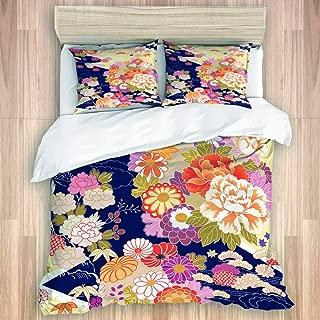 ZOMOY Duvet Cover Set, Orange Japanese Traditional Kimono Motifs Pattern Flower Oriental, Decorative 3 Piece Bedding Set with 2 Pillow Shams
