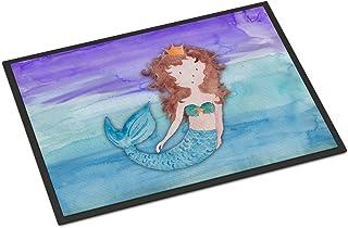 Caroline's Treasures BB7422MAT Brunette Mermaid Watercolor Indoor or Outdoor Mat 18x27, 18H X 27W, Multicolor