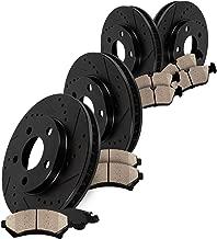 [V8 SN95] FRONT 330mm + REAR 296mm Black Drilled/Slotted 5 Lug [4] Rotors + [8] Low Dust Ceramic Brake Pads CRK13000