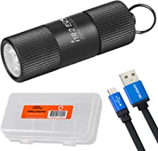 Olight I1R 2 EOS 150 Lumen Mini USB Rechargeable Keychain Flashlight and LumenTac Cable Case