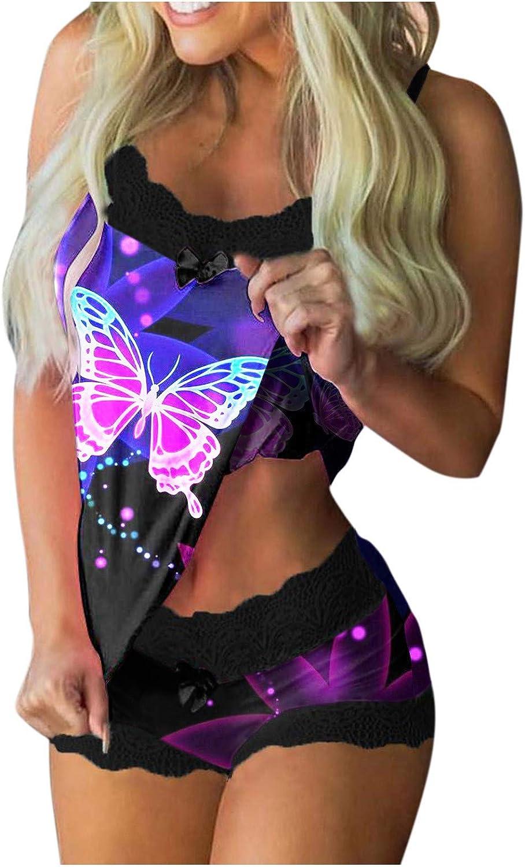 Womens Lingerie Set Sexy Lace Sleepwear Set,Fashion Butterfly Print Pajamas Set,Short Crop Cami Vest Panty Underwear