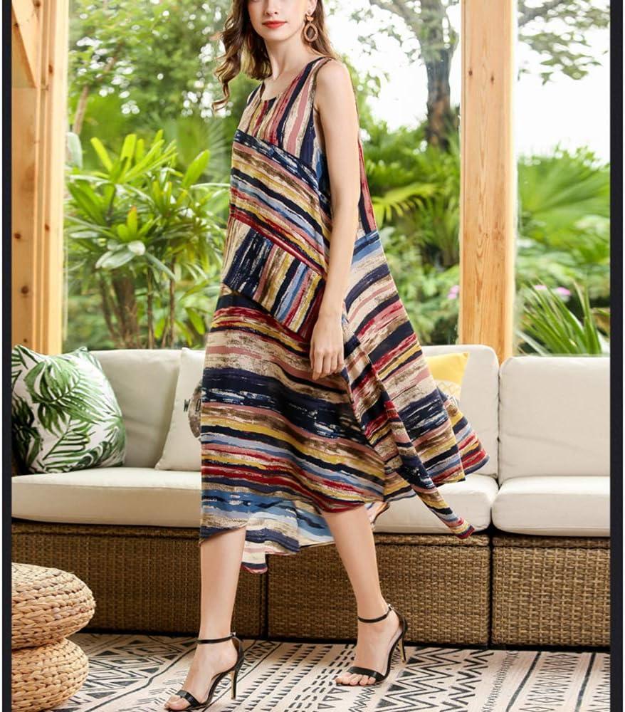 Onregellijke jurk met gestreepte print voor dames ronde hals grote middellange valse tweedelige mouwloos vest zomer meerdere kleuren