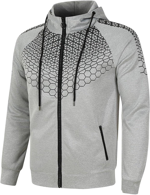 Men's Tracksuits,2 Piece Hoodie Tracksuit Sets Jogging Suits for Men Printed Zip Hooded Sweatshirt Sports Suit